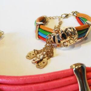 Vierreihiges Armband aus PU Leder/Kunstleder