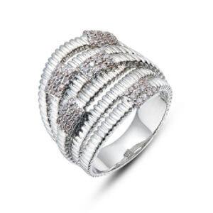 Modischer Ring in Messing weissgold beschichtet oder roségold beschichtet