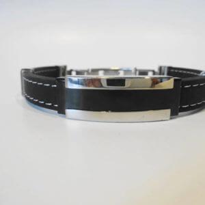 Edles Kautschukband schwarz mit Edelstahldetails-Klappverschluss